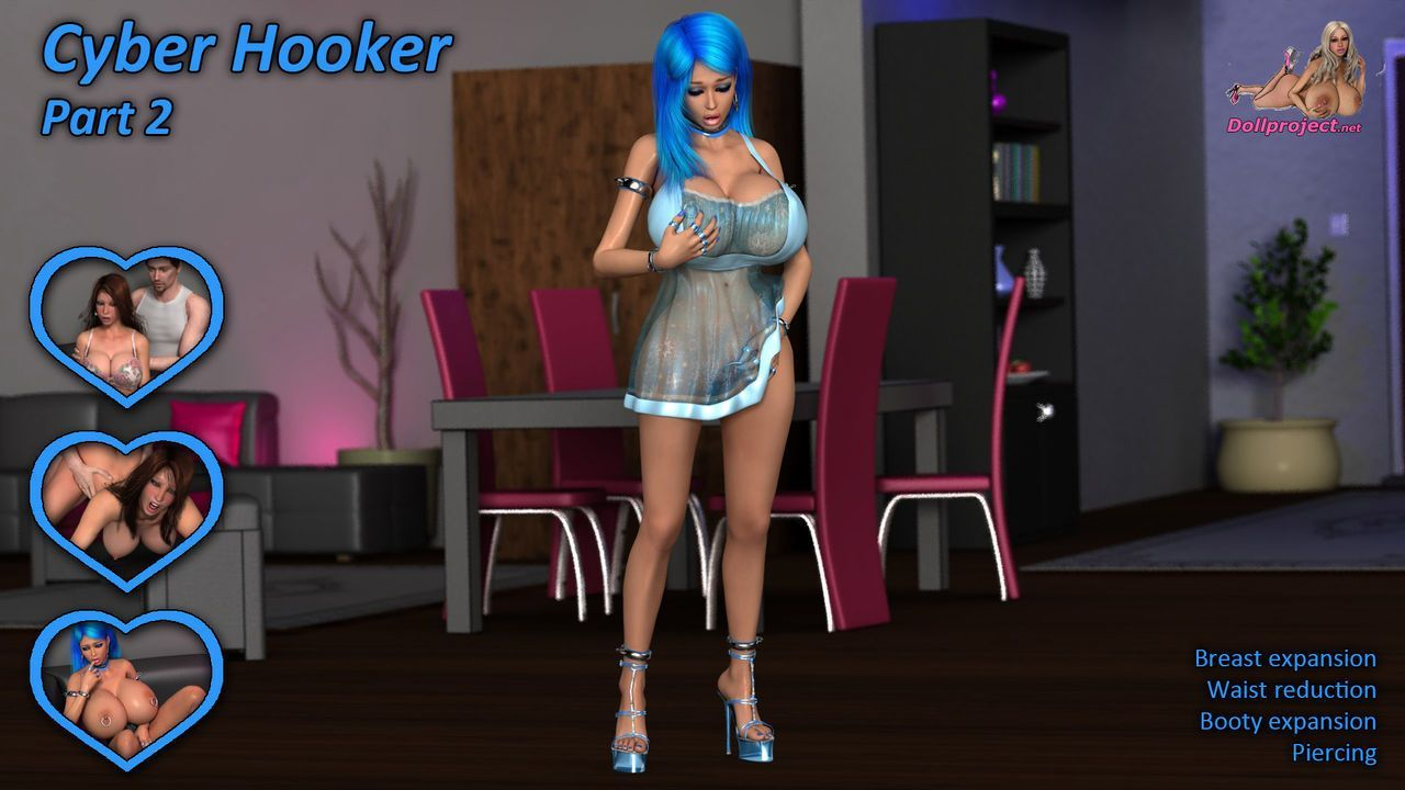 Cyber Hooker and Dolly Fox - futuristic breast expansion