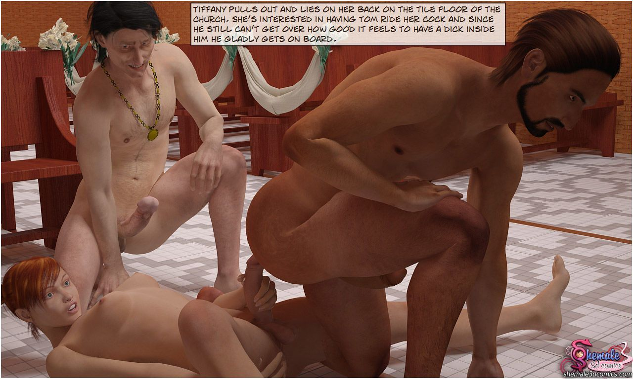 [Shemale3DComics] Church Threesome - part 3