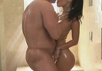 Cute asian Asa Akira with muscle guy under shower - 5 min