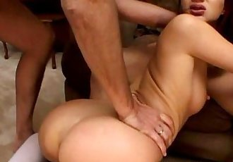 Threesome destroying the slut nand she gets ass fucked - 8 min