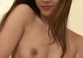 Sweet Mei in pink plays with her heart vib toys hairy pussy - 5 min
