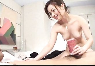 Hot Japanese MILF toys with her lovers cock - 7 min