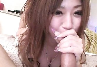Subtitled POV Japanese gyaru gives uncensored blowjob - 5 min HD