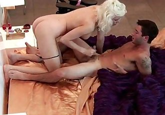 Blonde and Asian Playboy babes fucking 2 guys - 5 min
