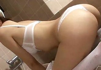 Horny nurse Mio Hiragi in the shower masturbating - 5 min