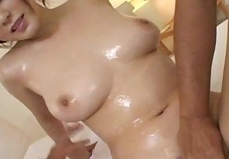 Sayaka Minami has body oiled and mouth and crack fucked by men - 10 min