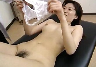 Saki Shiina has hairy cunt measured and sucks doctor phallus - 10 min
