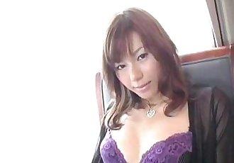 Miki Yamashiro in stockings fingers her wet and dark fish taco - 10 min
