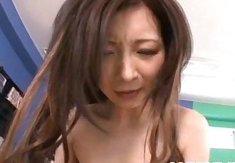 Ayami rubs penis with her big jugs and rides it - 10 min