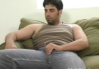 Handsome Straight Guy Johnny Jerking His Giant Cock