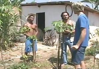 2 Latino guys fuck white boy in his ass