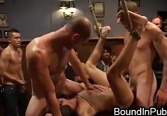 Bound gay groped and gangbang fucked in crowded restaurant during lunch hour