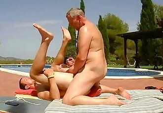 Outdoor Poolside Daddy Suck, Rim and Bareback - Older Younger