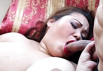 Exotic Asian Model Miss LingLing takes on 2 huge Cocks - 5 min HD