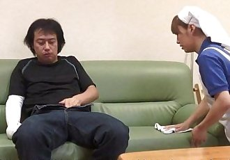 Asian housekeeper helps him out with his problem - 56 sec