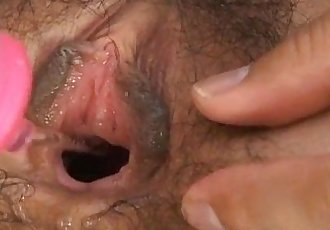 Kurumi Katase has hairy crack aroused and fucked with vibrators - 11 min