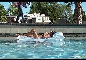Sexy sun bathing Asian wife Lana Violet fucks her gardener - 7 min HD