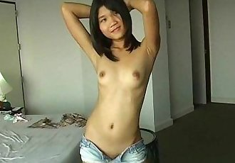 Luscious Asian ex girlfriend plays with her tiny pussy - 5 min