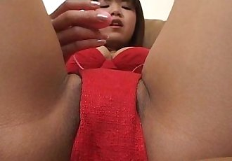Asian bimbo is on her wet cunt masturbating with a toy - 7 min