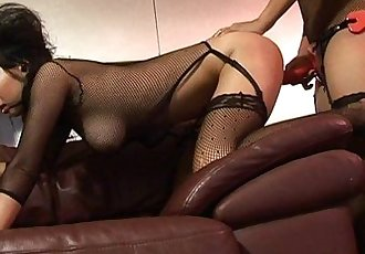 Two slutty Asian dark bitches fucking with a strap on - 8 min HD