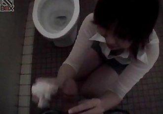 Shiori Kamiya sucks cock at toilet - 10 min
