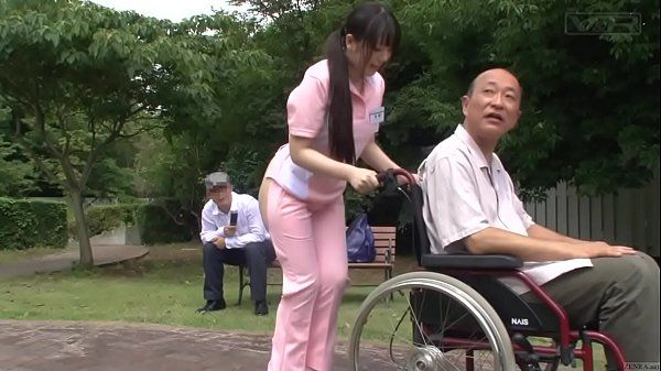Subtitled bizarre Japanese half naked caregiver outdoors HD