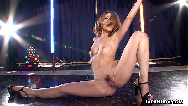 Asian stripper getting wild on the pole as she masturbates HD