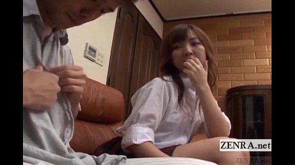 Subtitled CFNM Japanese schoolgirl with older boyfriend