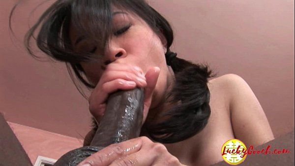 Damn pretty young asian fuck pussy being impaled by huge black cock HD