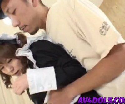 Japanese AV model in cosplay as a maid sucks cock and gets drilled - 10 min
