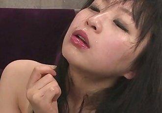 Nozomi Hazuki in stockings gives an asian blow job for cum - 8 min