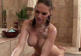 Sexy babe soapy massage blowjob cumshot facial - 5 min