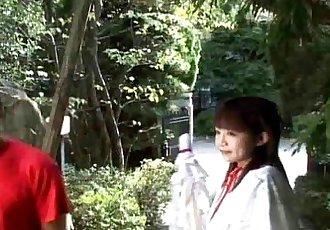 Cute Japanes babe sucks on three cocks Uncensored - 7 min