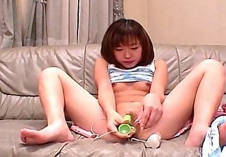 Cute Asian exgf bangs her pussy with a dildo - 5 min