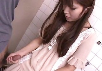 Asian teen jerking on the strangers cock in bathroom - 8 min