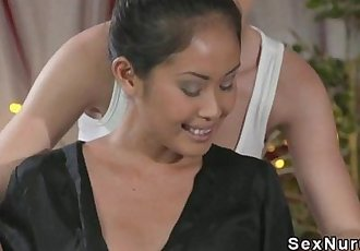 Blonde masseuse licks Asian babe - 10 min HD
