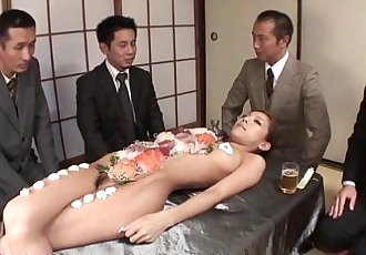 Business lunch is all over her naked body - 54 sec