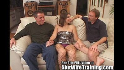 Dana Fulfills Her MFM Three Way Fantasy Slut Wife Training Style! - 4 min