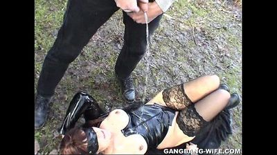 Dogging wife pissed on by 10 guys in a park - 5 min