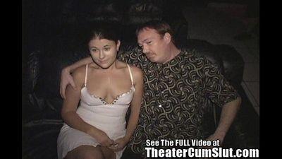 Wife Sucks & Fucks Strangers In a Seedy Porn Theater - 4 min