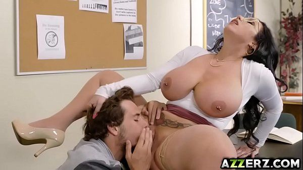 Busty librarian Sherdian bangs with a hot student