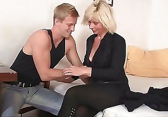 Old mature blonde sucks and rides neighbours cock 6 min HD+