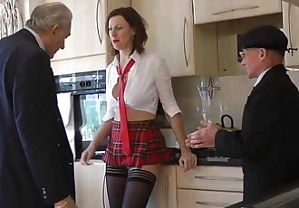 Stockings milf in threeway facializedHD