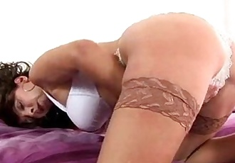 Mature brunette Tina toys in stockings - 3 min