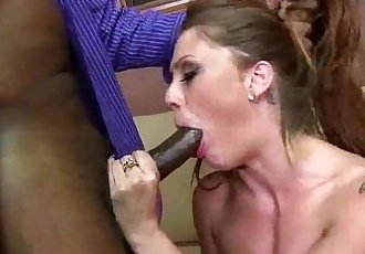 Hot MILF deepthroats gags and gets banged by a black cock 19
