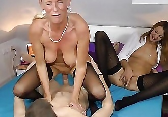 Two Milfs fucked hard with a young Student 13 min 1080p