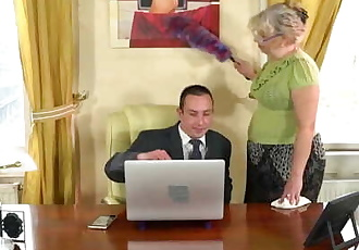 LustyGrandmas BBW GILF Cleans His Office and His Cock!