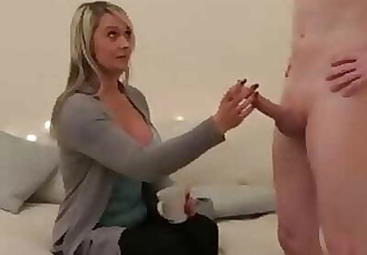 Mature CFNM babe stroking big cock