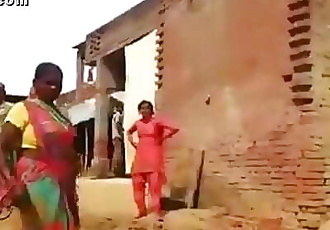 Angry worker lady showing off her boobs to intruder with curse