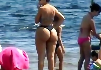 Spying Mom - Plumper Butt - Beach voyeur - Candid Big Ass - Chubby Granny